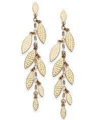 Image of I.N.C. Gold-Tone Shaky Leaf Linear Drop Earrings, Created for Macy's