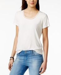 Image of Tommy Hilfiger Crochet-Trim T-Shirt, Created for Macy's