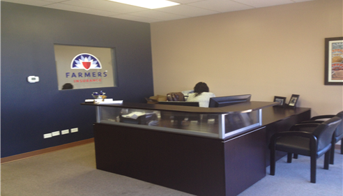 Interior of Farmers insurance agency with desk