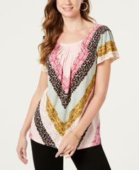 Image of Style & Co Pleated-Neck Floral-Print Top, Created for Macy's