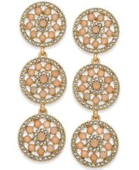 Image of I.N.C. Pavé & Colored Stone Flower Triple Drop Earrings, Created for Macy's