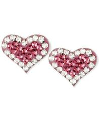 Image of Betsey Johnson Silver-Tone Heart Pink Crystal Stud Earrings