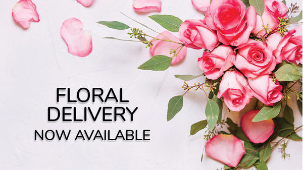 Floral Delivery Now Available!  Picture of pink roses.