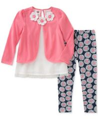 Image of Kids Headquarters 2-Pc. Layered-Look Floral Tunic & Printed Leggings Set, Baby Girls