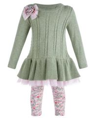 Image of Bonnie Baby Baby Girls 2-Pc. Cable-Knit Sweater & Floral Leggings Set