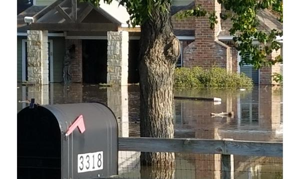 A photo of flooded buildings.
