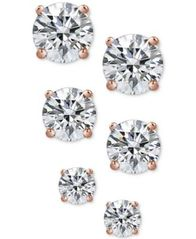 Image of Giani Bernini 3-Pc. Cubic Zirconia Sterling Silver Stud Earrings in 18k Rose Gold-Plated, 18k Gold-P