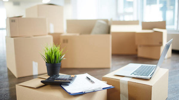 A student's dorm is boxed up with only a laptop and fresh plant unpacked