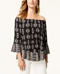 d3a43a567d4d89 Image of Style & Co Printed Off-The-Shoulder Top, Created for Macy's