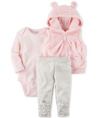 Image of Carter's 3-Pc. Hooded Vest, Bodysuit & Pants Set, Baby Girls (0-24 months)