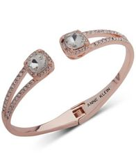 Image of Anne Klein Crystal & Pavé Hinged Bangle Bracelet, Created for Macy's