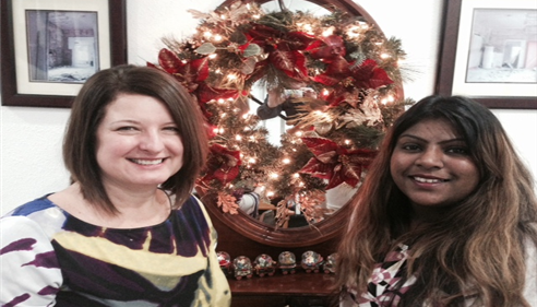 Lorri and Sofia December 2014. New decorations just went up!