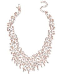 "Image of I.N.C. Rose Gold-Tone Pearl & Crystal Vine Statement Necklace, 16"" + 3"" extender, Created for Macy's"