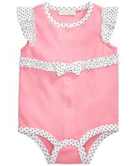 Image of First Impressions Dot-Print Cotton Creeper, Baby Girls, Created for Macy's