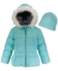 Image of Weathertamer Hooded Puffer Coat With Faux-Fur Trim & Hat, Big Girls (7-16)