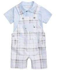 Image of First Impressions 2-Pc. Polo Shirt & Plaid Elephant Overall Set, Baby Boys, Created for Macy's
