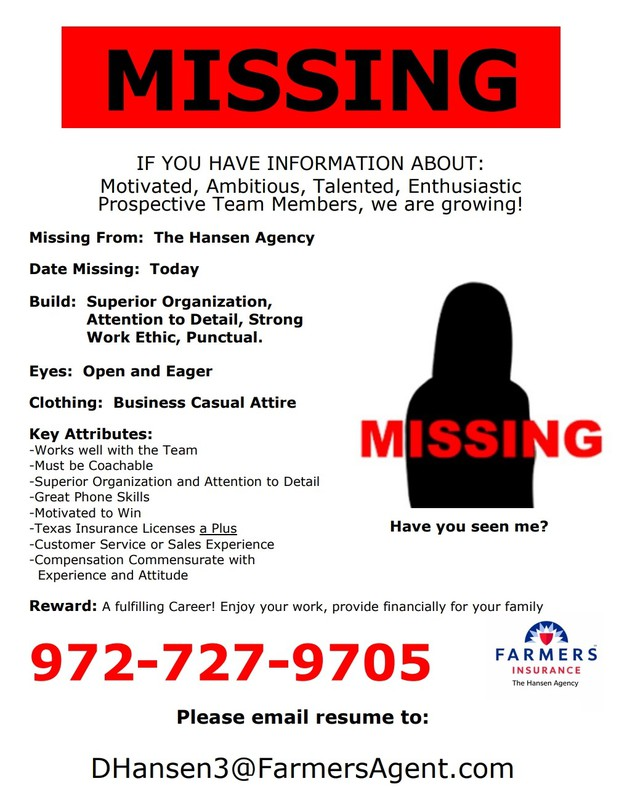 Missing sign for hiring new agents