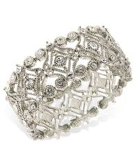 Image of 2028 Bracelet, a Macy's Exclusive Style, Silver-Tone Crystal Scroll Bracelet, a Macy's Exclusive Sty