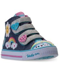 Image of Skechers Toddler Girls' Twinkle Toes: Shuffles - Rainbow Beauty Light-Up High Top Casual Sneakers fr