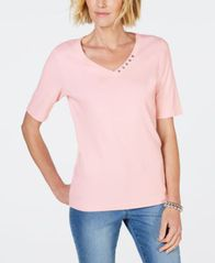 Image of Karen Scott Cotton Rhinestone-Neck T-Shirt, Created for Macy's