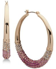 "Image of DKNY Ombré Pavé Medium 1-1/3"" Hoop Earrings, Created for Macy's"