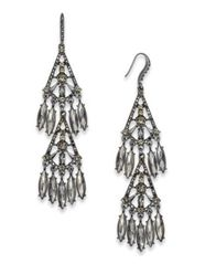 Image of I.N.C. Hematite-Tone Shaky Stone Chandelier Earrings, Created for Macy's