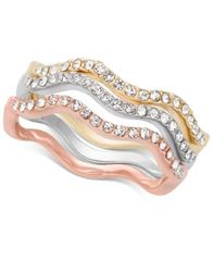 Image of Charter Club Tri-Tone 3-Pc. Set Pavé Wavy Rings, Created for Macy's