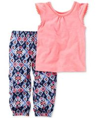 Image of Carter's 2-Pc. Pom-Pom Top & Printed Jogger Pants Set, Baby Girls (0-24 months)