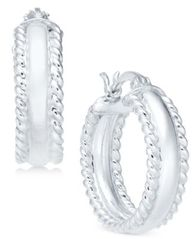 Image of Giani Bernini Polished Rope Edge Hoop Earrings in Sterling Silver, Created for Macy's
