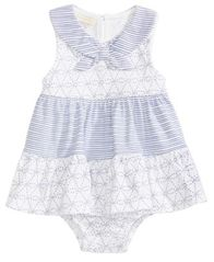 Image of First Impressions Nautical Cotton Skirted Romper, Baby Girls, Created for Macy's