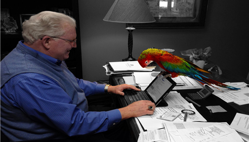 Chico scrolls on the touchpad of the Tablet with his beak, Larry & Chico 2014.
