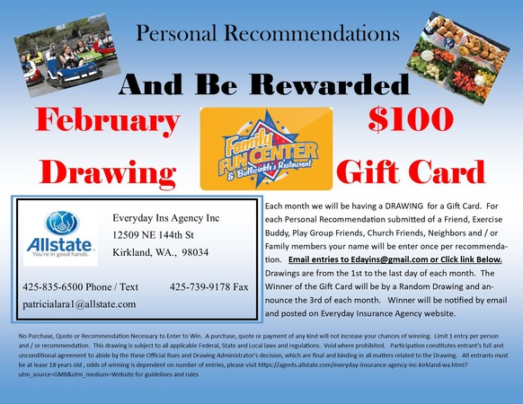 Everyday Insurance Agency Inc. - February Drawing - Family Fund Center $100 Gift Card