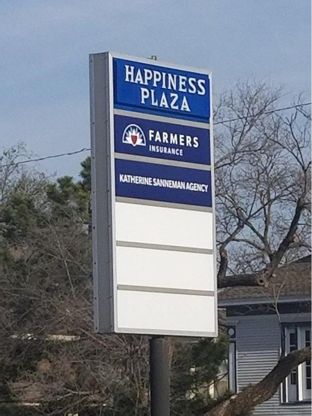 Business plaza sign for the Happiness Plaza, featuring Farmers Insurance as a business.