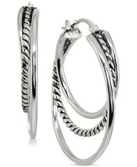 "Image of Giani Bernini Small Textured Triple Hoop Earrings in Sterling Silver, 1"", Created for Macy's"
