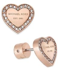 Image of Michael Kors Crystal Heart Stud Earrings