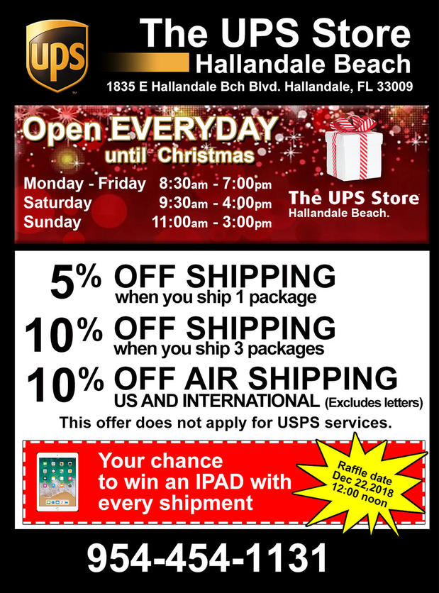 We will be open EVERY day until Christmas. Come over and enjoy these specials as well as the chance to win an IPAD.