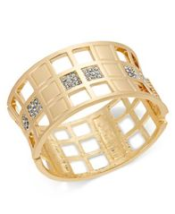 Image of I.N.C. Gold-Tone Crystal Checkered Bangle Bracelet, Created for Macy's