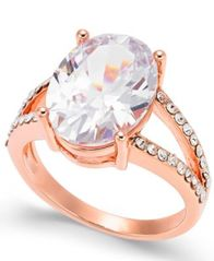 Image of Charter Club Rose Gold-Tone Crystal Oval Ring, Created for Macy's