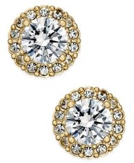 Image of Danori Gold-Tone Crystal Halo Stud Earrings, Created for Macy's