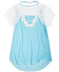 Image of Belle Du Jour Lace-Front Shirt, Big Girls (7-16)