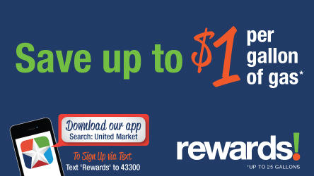 United Supermarkets rewards program. save up to $1 per gallon of gas!