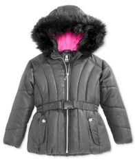 Image of S. Rothschild Foil-Dot Belted Puffer Jacket with Faux-Fur Trim, Toddler Girls (2T-5T)
