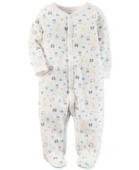 Image of Carter's Baby Boys & Girls 1-Pc. Animal-Print Thermal Cotton Footed Coverall