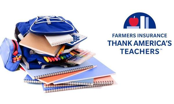 "School supplies next to the ""Farmers Insurance Thank America's Teachers"" logo."