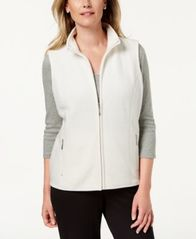 Image of Karen Scott Zeroproof Fleece Stand Collar Vest, Created for Macy's