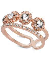 Image of Charter Club Rose Gold-Tone Crystal Two-Row Band Ring, Created for Macy's