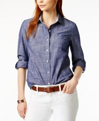Image of Tommy Hilfiger Cotton Printed Roll-Tab Utility Shirt, Created for Macy's