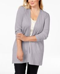Image of Karen Scott Plus Size Long Pointelle-Knit Cardigan Sweater, Created for Macy's