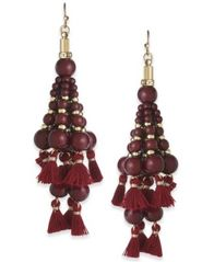 Image of INC International Concepts Gold-Tone Bead and Tassel Drop Earrings, Created for Macy's