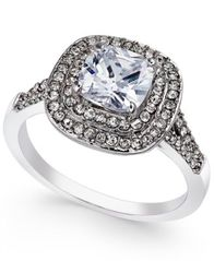 Image of Charter Club Silver-Tone Double Halo Crystal Center Ring, Created for Macy's